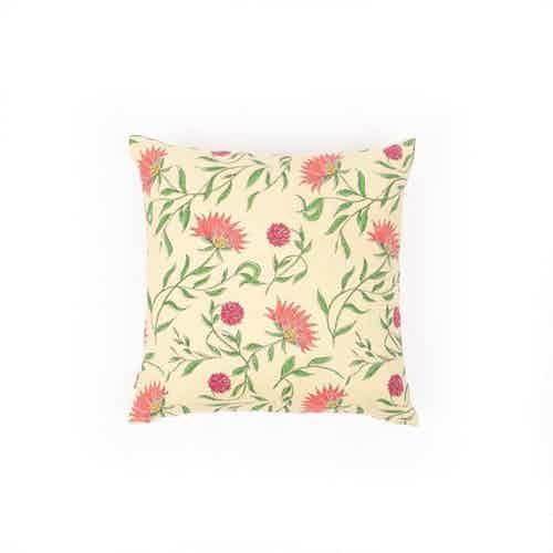 Firdos Floral Yellow Cushion Cover from Tikauo in Cushions & Covers, Furnishings