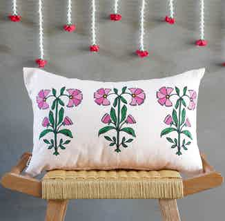 Nasrin | Recycled Cotton Floral Cushion Cover | Pink from Tikauo in Cushions & Covers, Furnishings