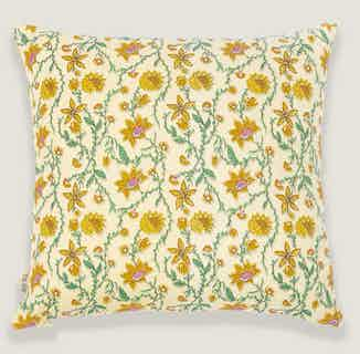 Bahar Floral Yellow Cushion Cover from Tikauo in Cushions & Covers, Furnishings
