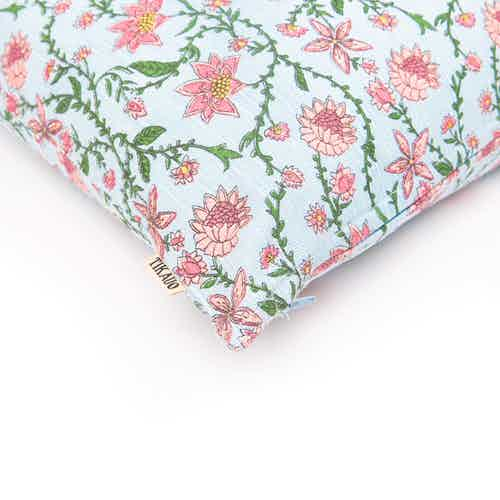 Bahar Floral Blue Cushion Cover from Tikauo in Cushions & Covers, Furnishings