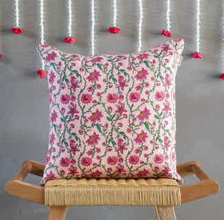 Bahar Floral Pink Cushion Cover from Tikauo in Cushions & Covers, Furnishings