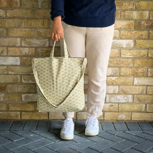 Ikigai Recycled Cotton Tote Bags in Herb from Tikauo in Totes Shoppers, Bags
