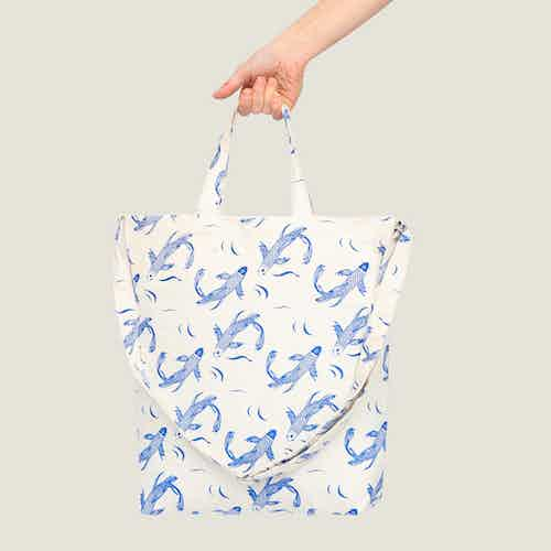 Sakana Tote Bag in Blue from Tikauo in Totes Shoppers, Bags