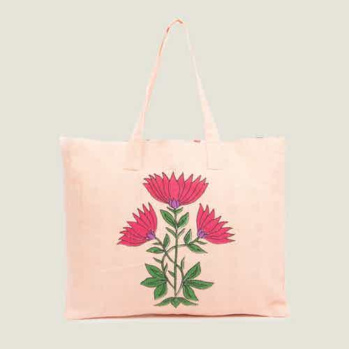 Juhi Recycled Cotton Beach Tote Bag from Tikauo in Totes Shoppers, Bags