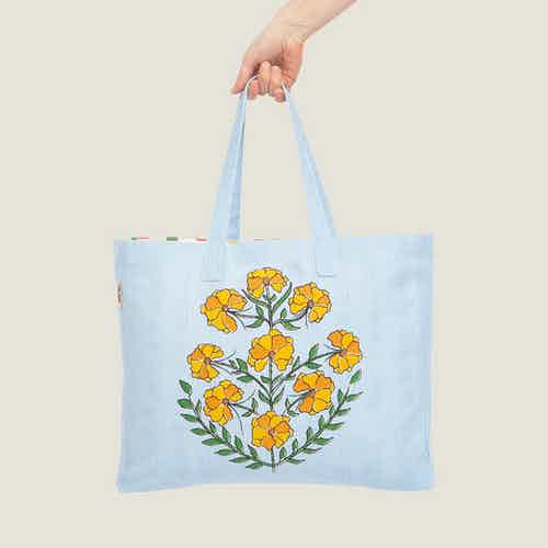 Zareen Recycled Cotton Beach Tote Bag from Tikauo in Totes Shoppers, Bags