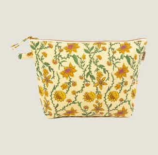 Bahar Floral Yellow Wash Bag from Tikauo in Wash Bags, Travel Essentials & Storage