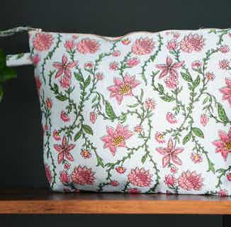 Bahar Floral Blue Wash Bag from Tikauo in Wash Bags, Travel Essentials & Storage