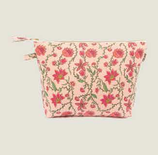 Bahar Floral Pink Wash Bag from Tikauo in Wash Bags, Travel Essentials & Storage