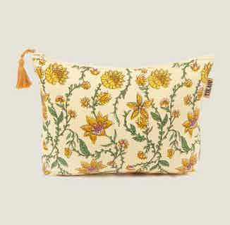 Bahar Floral Yellow Makeup Bag from Tikauo in Wash Bags, Travel Essentials & Storage