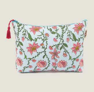Bahar Floral Blue Makeup Bag from Tikauo in Wash Bags, Travel Essentials & Storage