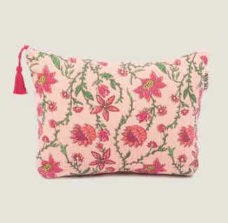 Bahar Floral Pink Makeup Bag from Tikauo in Wash Bags, Travel Essentials & Storage