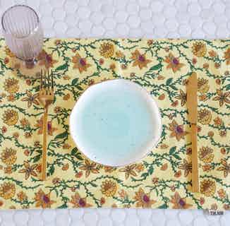 Bahar Floral Yellow Placemats - Set of 2 from Tikauo in Dining, Kitchen