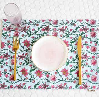 Bahar Floral Blue Placemats - Set of 2 from Tikauo in Dining, Kitchen