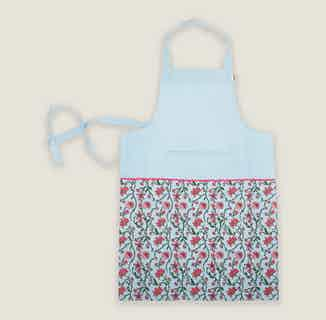 Bahar Floral Aprons in Blue from Tikauo in Cooking, Kitchen