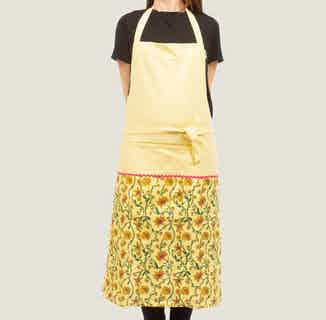 Bahar Floral Aprons in Yellow from Tikauo in Cooking, Kitchen