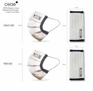 Kids 100% Organic Cotton 3 Layer Face Mask from Ceae in Face Masks, Accessories