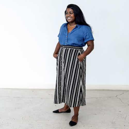 Isthmus Midi Skirt : Black & Oatmeal Stripe from Lev Apparel in Skirts, Dresses & Skirts