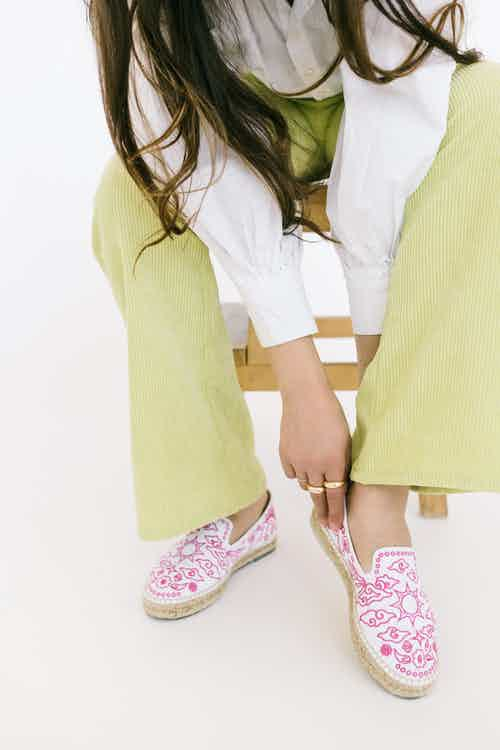 Bromo Artisanal Espadrille Shoes - White Cotton from Solana in Flats, Footwear