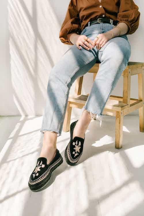 Sumatra Artisanal Espadrille Shoes - Black Velvet from Solana in Flats, Footwear