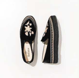 Sumatra Artisanal Espadrille Shoes - Black Velvet from Solana in Footwear, Women's Sustainable Clothing