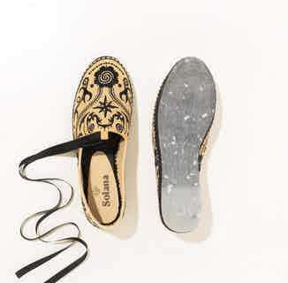 Borneo Artisanal Espadrille Shoes - Beige Cotton from Solana in Flats, Footwear