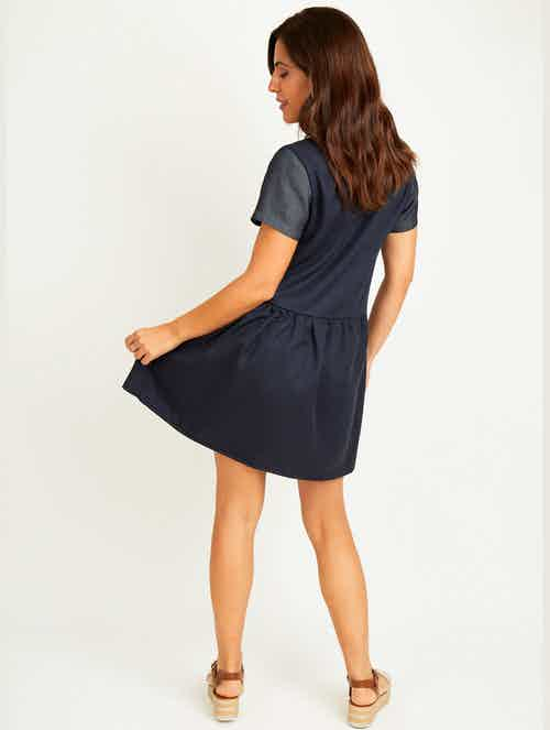 Evie Lyocell & Organic Cotton Dress | Navy & Denim from Fouremme in Dresses, Dresses & Skirts