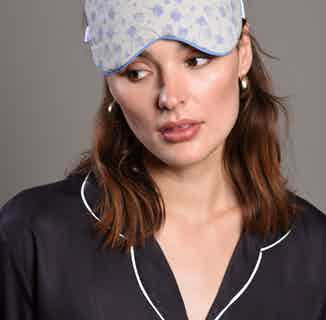 Organic Cotton & Bamboo Silk Eye Mask  | Blue Piping Adrianna from Billy Sleeps in Sleepwear, Women's Sustainable Clothing