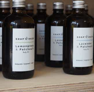 Organic Natural Body Oil   Lavender and Patchouli   100ml from Soap Daze in Oils, Sustainable Beauty & Health
