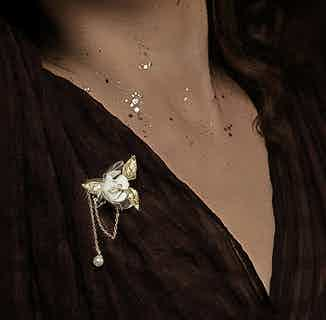 Upcycled Jasmine Single-Drip Brooch from Upcycle with Jing in Jewellery, Women's Sustainable Clothing