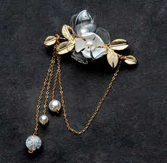 Jasmine Triple-Drip Long Brooch   Eco-friendly Jewelry from Upcycle with Jing in Brooch, Jewellery