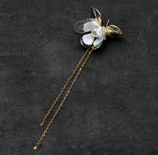 Jasmine Flower Long Drip Ear Pins from Upcycle with Jing in Jewellery, Women's Sustainable Clothing