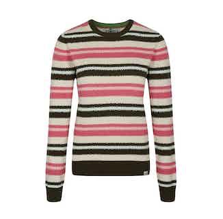 Trip | GOTS Organic Cotton Women's Striped Jumper | Pink White & Green from Komodo