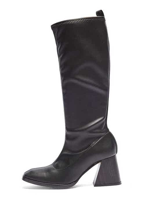The Luz | Vegan Leather Knee High Heeled Pull-on Boot | Black from Mireia Playà in Footwear, Women's Sustainable Clothing