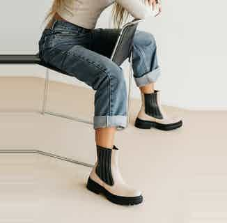Ireland Napa | Vegan Chelsea Chunky Boot | Beige from Mireia Playà in Footwear, Women's Sustainable Clothing