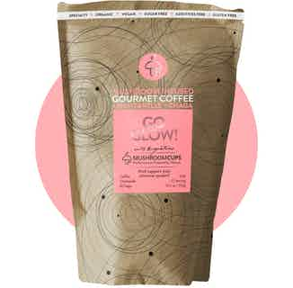 Go Glow | Organic Ground Coffee | Chaga and Chanterelle | 22-28 Servings from Mushroom Cups in Coffee, Drinks