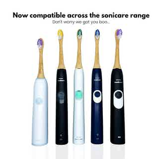 Soniboo | 2 Pack Biodegradable Eco-Friendly Bamboo Electric Sonicare Compatible Toothbrush Heads | Purple & Green from Booheads in Oral care, Sustainable Beauty & Health