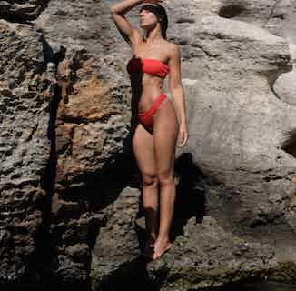 Cherry | Sustainable Nylon Bikini Top and Bottom Set | Red from Nael in Swimwear, Women's Sustainable Clothing