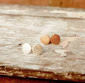 Mandala   Ethically Sourced Sterling Silver or 18ct Gold Plated Patterned Stud Earrings from Hobo and Hatch in Jewellery, Women's Sustainable Clothing