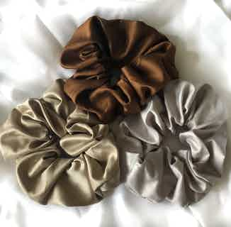 Organic Bamboo Silk Scrunchie   Large Pack of 3   Latte from Good House London in Accessories, Women's Sustainable Clothing