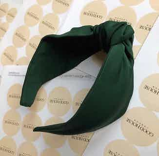 Organic Bamboo Silk Turban Knot Headband   Forest Green from Good House London in Accessories, Women's Sustainable Clothing