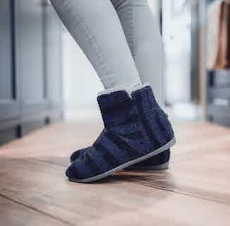 Jenny | Recycled Faux Fur Slipper Boot | Navy from Shu Da Living in Slippers, Footwear