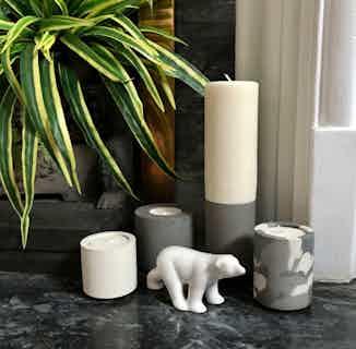 Tealight Trio - Grey/Snocam/White from Concrete & Wax in Homeware, Sustainable Homeware & Leisure