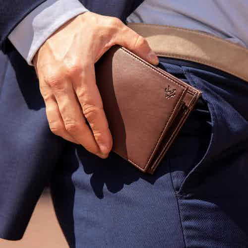 Coin Wallet in Chestnut Brown & Red from Watson & Wolfe in Wallets & Card Holders, Accessories