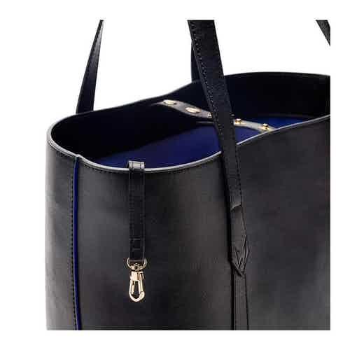 Maddox Tote in Black & Cobalt Blue from Watson & Wolfe in Totes Shoppers, Bags