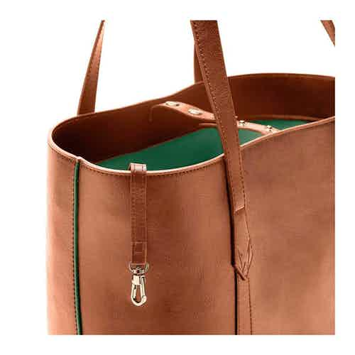 Maddox Tote in Cognac & Emerald from Watson & Wolfe in Totes Shoppers, Bags