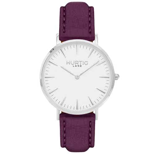 Hymnal Vegan Suede Watch Silver, White & Forest Green from Hurtig Lane in Watches, Accessories