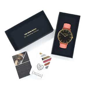 Mykonos Vegan Leather Watch Gold, Black & Coral from Hurtig Lane in Watches, Accessories