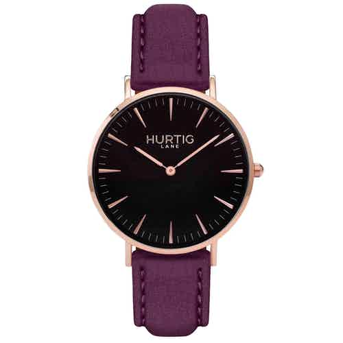 Hymnal Vegan Suede Watch Rose Gold, Black & Coral from Hurtig Lane in Watches, Accessories