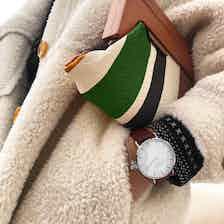 Mykonos Vegan Leather Watch Silver, White & Chestnut from Hurtig Lane in Watches, Accessories