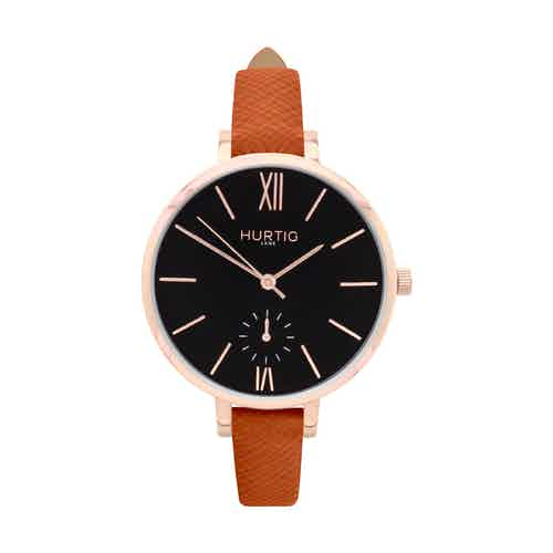 Amalfi Petite Vegan Leather Watch Rose Gold, Black & Black from Hurtig Lane in Watches, Accessories